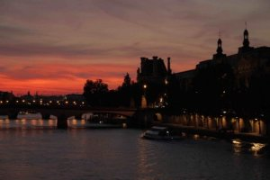 From Pont des Arts looking toward the Pont du Carrousel Louvre and the lights along the quai