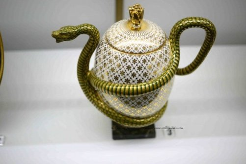 Porcelaine tea pot (théière) with snake wrapped around and forms handle and spout-Manufacture royale de Sèvres 1833, belonged to the King Louis-Philippe