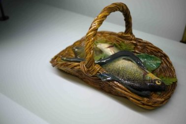 Fish in a basket, Auguste Chauvigné (1829-1904) Tours, @1890