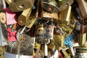 Tourists, Ian and Josie's padlock of love Pont des Arts bridge