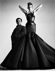 Image of Azzedine Alaïa and model, photo by Patrick Demarchelier