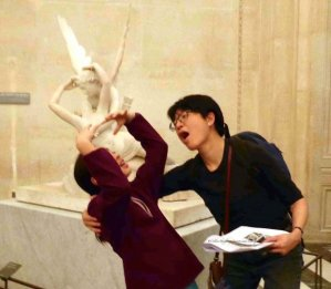 Raina and Michelle posing in front of the wrong statue for bonus points; it should have been Michelangelo's Dying Slave. This is Canova's Cupid Reviving Psyche.