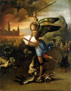 Raphael's Saint Michael Slaying the Dragon a tiny painting in the Louvre