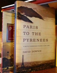 Paris to the Pyrenees book on my library shelf with Paris, Paris Journey to the City of Lights in the background by David Downie