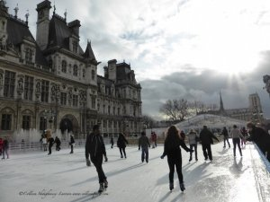 Ice skating until beginning of March at Hotel de Ville plaza, Notre Dame in the background