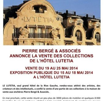 Hotel Lutetia auction flyer from Pierre Bergé & Associés-May 19 to 25, 2014