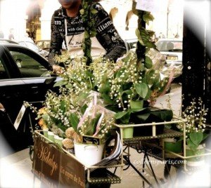 Vendor outside Place des Vosges selling muguet in a stand