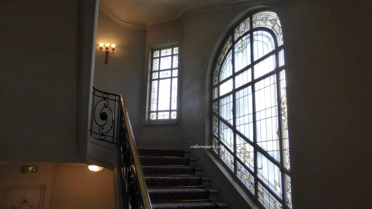 Stairway stained glass windows Hotel Raphael Paris