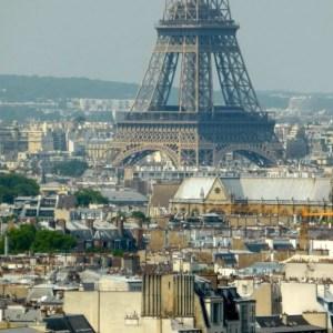 View of Eiffel Tower in the distance Tour Saint Jacques Chatelet Paris