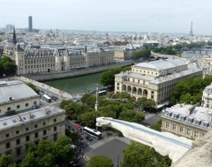 View of Conciergerie, Montparnasse Tower, Chatelet and Eiffel Tower from Tour Saint Jacques