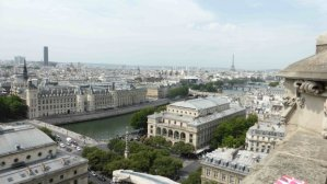 Panoramic view from Tour Saint Jacques toward Conciergerie and Chatelet