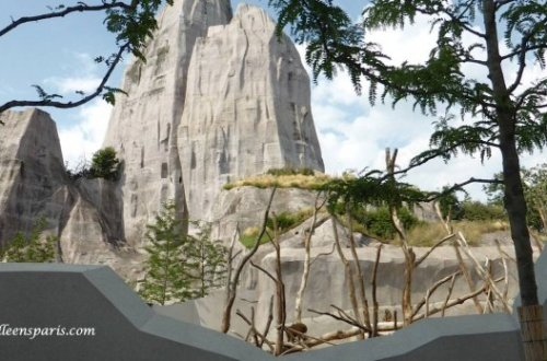 The towering boulder zoo landmark houses all the technical needs of the zoo