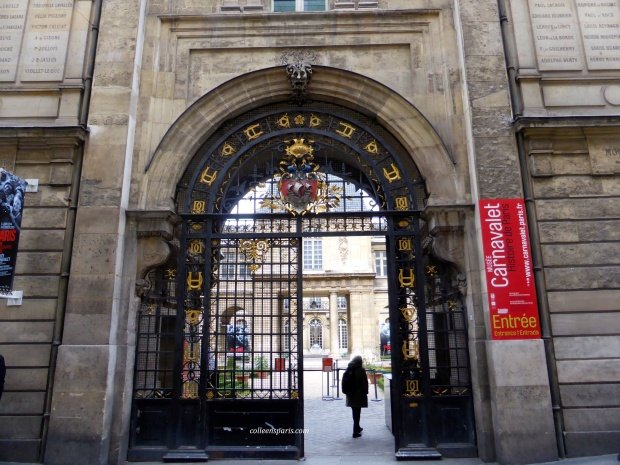 rue Francs Bourgeois entrance and entry to the garden of Musée Carnavalet