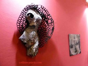 Wall sculpture formed fabric in shape of torso from nadine vergues Aiguille en Fete