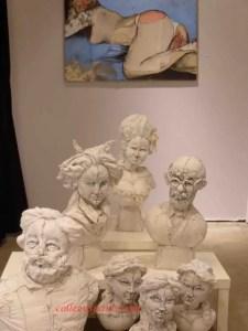 fabric busts of famous figures Aiguille en Fete