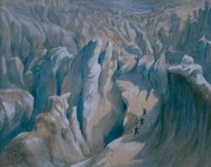 «La jonction au-dessus des Grands Mulets». Aquarelle de 1869, Viollet-le-Duc