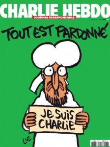 Wednesday Jan 14 cover of Charlie Hebdo one week after killings