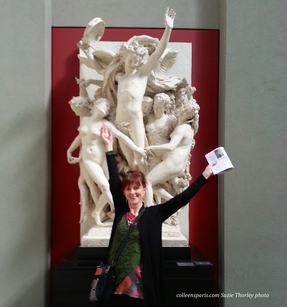 Colleen earning an extra 50 points imitating the sculpture, although backwards