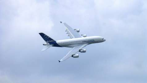 A380 flying at the Paris Air Show