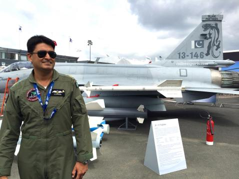 Captain Usman had a fan club behind the ropes; flew this noisy fighter two hours later