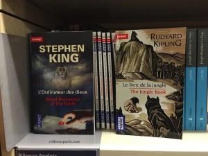 Bilingual books at FNAC Les Halles; Stephen King and Rudyard Kipling