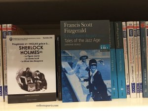 Bilingual books at FNAC Les Halles; pictured Sherlock Holmes and Tales of the Jazz Age