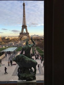 View of Eiffel Tower from Musee de l'Homme Chaillot Trocadéro; Albert Pommier (1880 – 1943) French Sculptor - Hercules and the Cretian bull