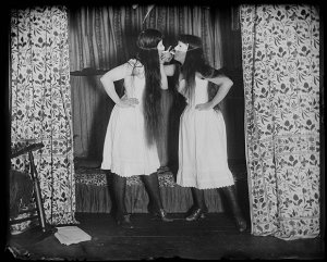 Alice Austen (1866-1952), Trude and I masked, short skirts, 6 August 1891 ©Photo Courtesy of Historic Richmond Town, Staten Island, New York, Staten Island Historical Society
