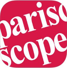 ITunes logo for Pariscope, small format, weekly entertainment magazine, Paris, France