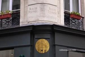 street signs in stone still visible in Paris rue de Poitou and rue de Touraine