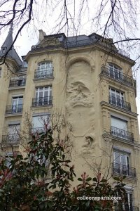 Art Nouveau apartment building sculpture and sundial on rue Perrée across from Square du Temple (1907-1908) - architects Georges Raymond Barbaud and Edouard Bauhain