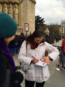 Rosemary signing her book. Rosemary's book, Angels of Paris, an Architectural Tour through the History of Paris, is also available in French