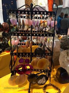 Stone and bone earrings from Madagascar at Foire de Paris