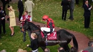 Rider and horse at Race Longchamp horse race Qatar Prix Arc de Triomphe