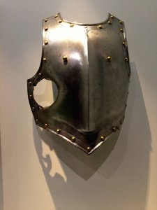 Officer's vest armor pierced by a canon ball at the battle of Wagram (Austria), 1809 (section of holes) A new recruit, François-Antoine Fauveau, aged 23 met his Waterloo, Carambolages RMN Grand Palais, Paris