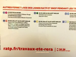 August 21, no service between La Défense and Nation alternatives available. ratp.fr/travaux-ete-rera