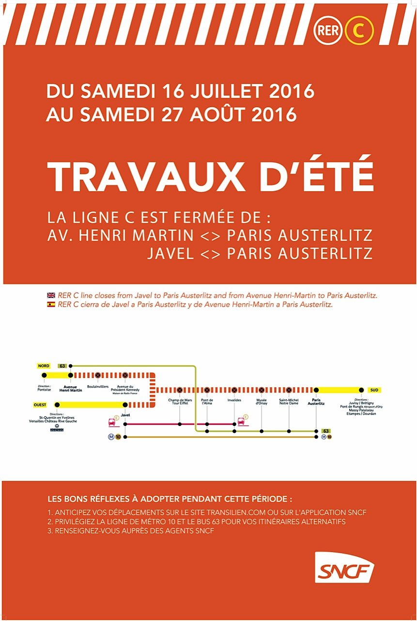 Poster with stations closed during RER C summer renovation in Paris until August 27, 2016