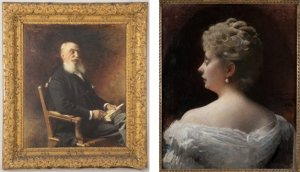 Dual portrait images of Louis Cahen d'Anvers (Léon Bonnat, 1901) and Louise Cahen d'Anvers, par Léon Bonnat, 1893