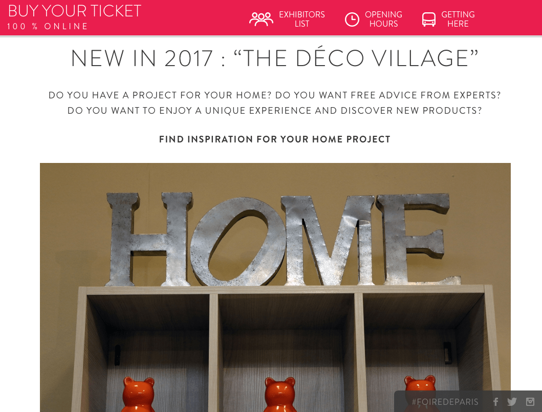 Image from Foire de Paris website new for 2017 Déco Village