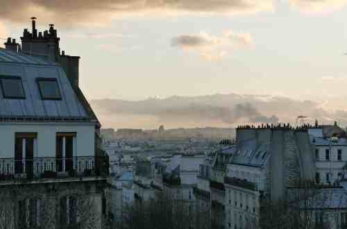 Image of Paris panorama from a Montmartre balcony at sunset