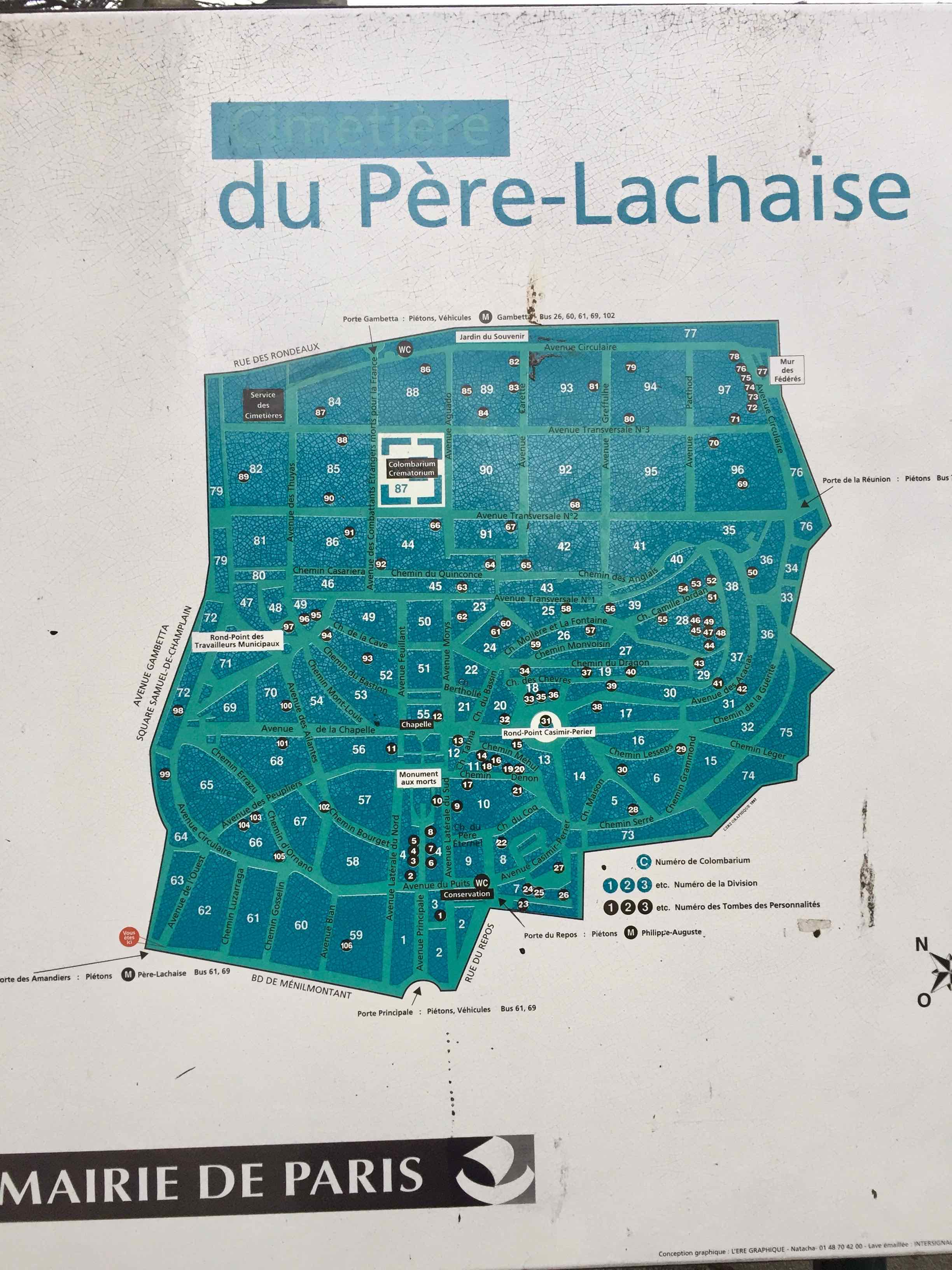 Pere Lachaise Lageplan