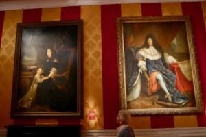 Portraits of Mme de Maintenon and Louis XIV at the Versailles Palace exhibit