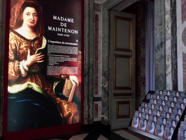 Entry with poster and handouts for exhibit Madame de Maintenon apartments