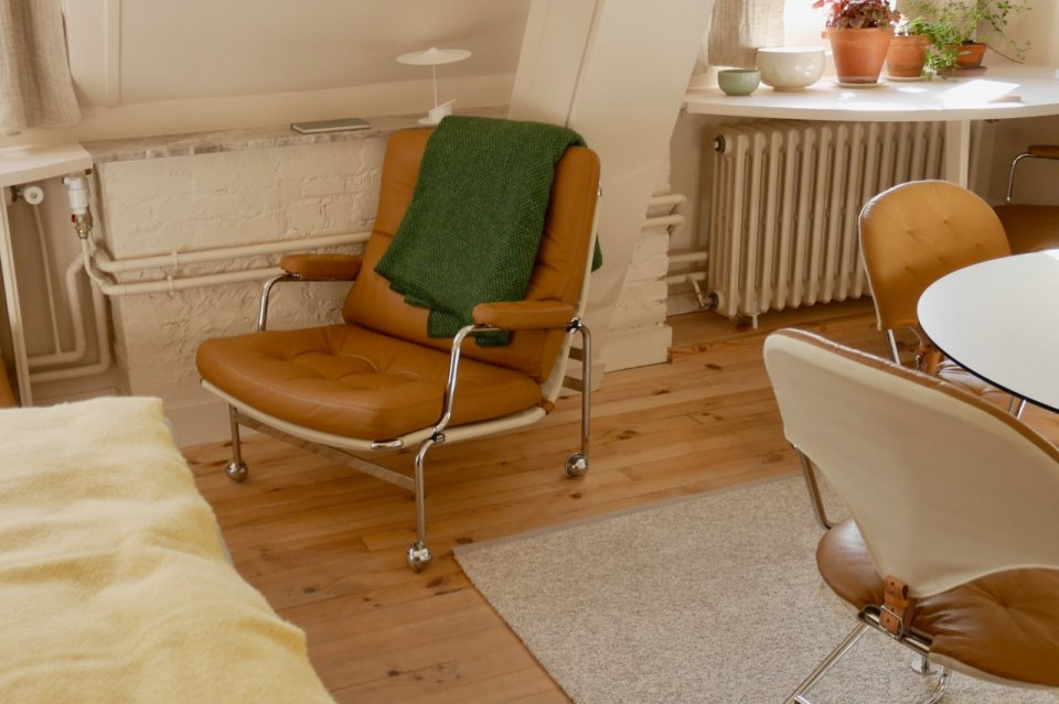 """Poet and painter, Greta Knutson inspired the design of the apartment """"Une chamber à soi""""; the chair """"Karin"""" has resided at the Institute since 1971"""