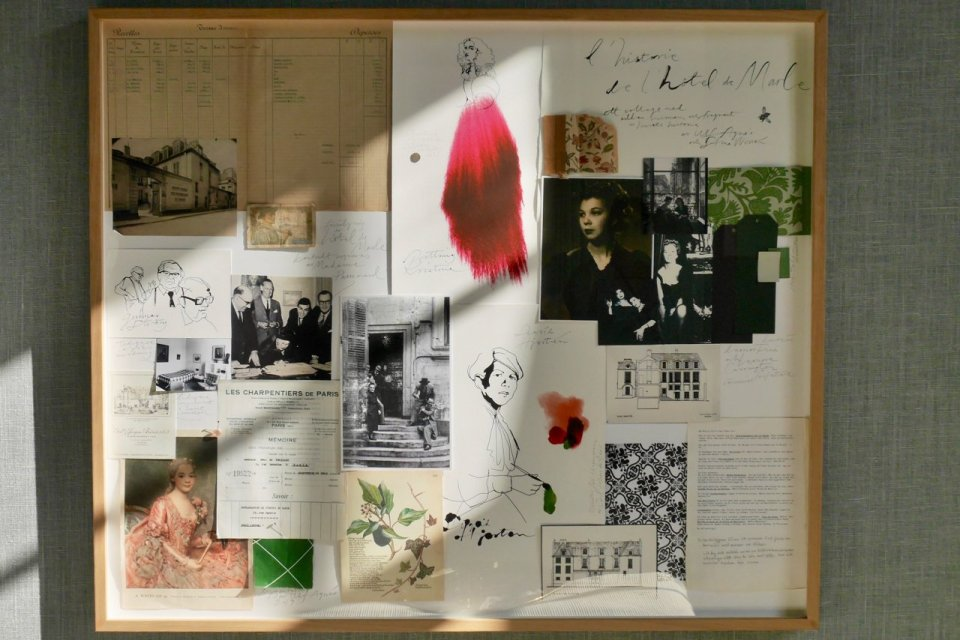 Collage of Hotel de Marle's history with illustrations, photos of artists who resided here; receipts and illustrations