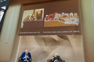 Images of Jean-Louis Cohen and Frank Gehry below projection of Girogio Morandi and Maison Lewis