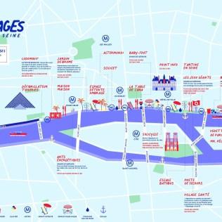 Map of Paris Plages Parc Rives de Seine Right Bank 2020