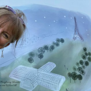 Image of Colleen in front of Kera Till illustration for Temporary Grand Palais