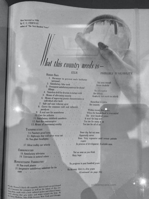 """""""What the country needs is"""" Harper's Bazaar, July 1936 with Man Ray image"""