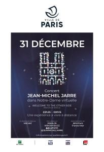poster for December 31 Jean-Michel Jarre virtual reality at Notre-Dame de paris